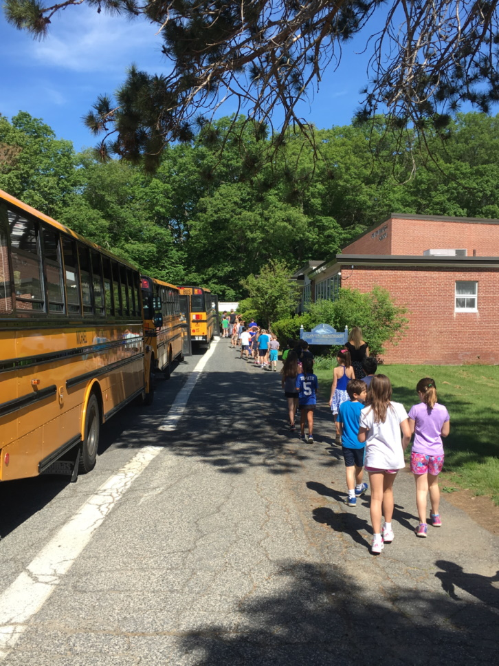 Students boarding line of school buses
