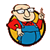 graphic image of bald man with glasses in overalls holding up one finger. He is the character logo for the Schooldude product